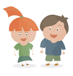 boy and girl funny cartoon and teen vector image