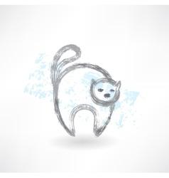 Cat grunge icon vector image