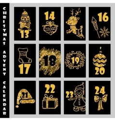 Christmas Advent Calendar With Gold Glitter vector image