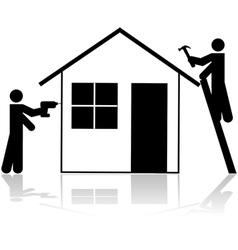 Contractors working vector image