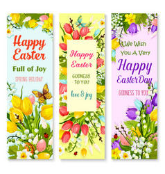 easter spring flowers and eggs greeting banner set vector image vector image