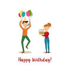 flat man and girl at birthday party vector image vector image