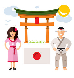 japan people flat style colorful cartoon vector image vector image