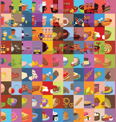 Large set of food icons vector