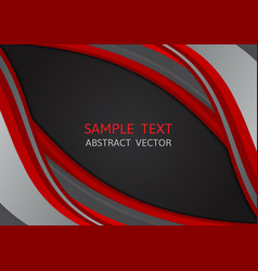 red and black color wave abstract background vector image