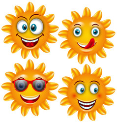 set smiling sun cartoon characters vector image