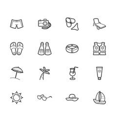 summer travel element black icon set on white bg vector image