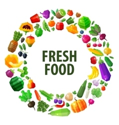 fresh food logo design template fruits and vector image vector image