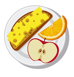 plate with breakfast vector image vector image