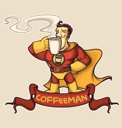 Superhero coffee-man vector image vector image