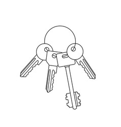 bunch of keys line drawing vector image