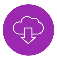 Cloud with arrow down line icon vector