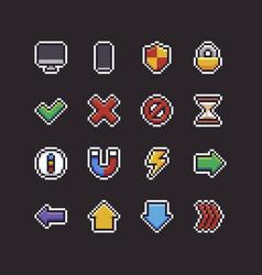 pixel art ui icons vector image vector image