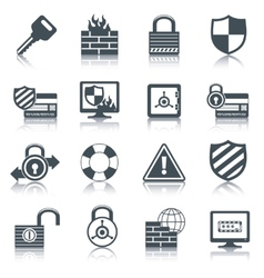 Security icons set black vector image