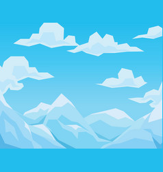 winter scene with mountains landscape blue sky vector image