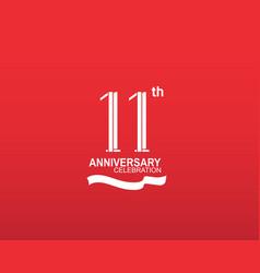11 anniversary logotype flat design white color vector
