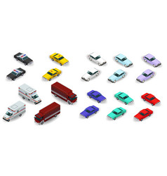3d isometric police taxi ambulance fire truck vector image