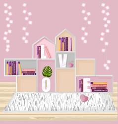 abstract shelves for books decor modern vector image