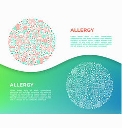 allergy concept in circle with thin line icons vector image