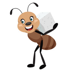 ant with sugar on white background vector image