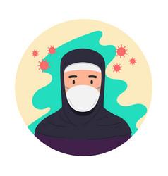 arabian woman with antivirus medical masks vector image