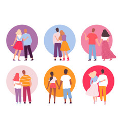 back couples adult people walking family hugging vector image