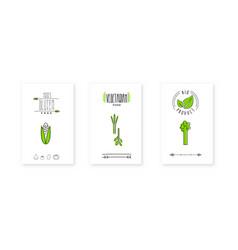 bio product logo vegetarian food badges emblem vector image