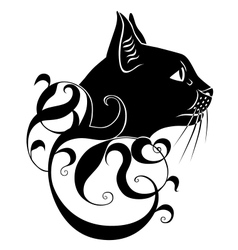 Black cat decoration vector