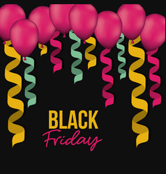 black friday poster with colorful decorative vector image
