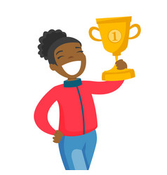 black sportswoman rewarded with a gold trophy vector image