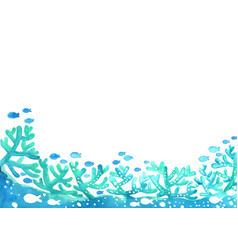 Blue coral reef with school fish watercolor vector
