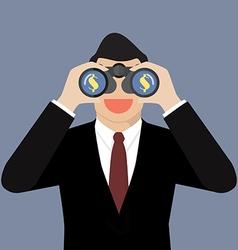 Businessman use binoculars looking for money vector