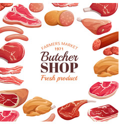 butchery poster fresh meat raw beef steak and vector image