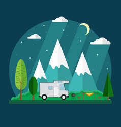 Campsite place in mountain at night vector