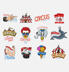 carnival circus badge harlequin with animals vector image