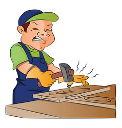carpenter nailing nail into wooden plank vector image