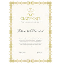 Certificate template diploma of modern design or vector