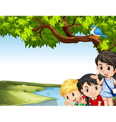 Children hanging out at the river vector image