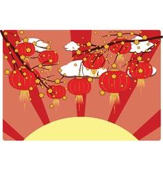 Chinese lantern with sakura branch5 vector