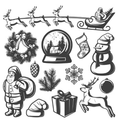 Christmas Monochrome Elements Set vector