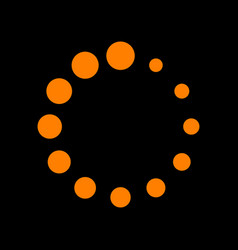 circular loading sign orange icon on black vector image