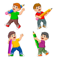 collection boy holding big pencil vector image