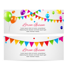 color glossy balloons birthday party card vector image