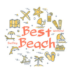 colorful icons in summer best beach theme vector image