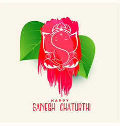creative happy ganesha chaturthi background vector image