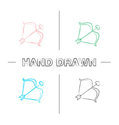 cupids bow and arrow hand drawn icons set vector image