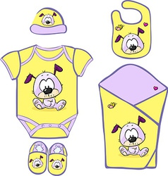 Cute baby layette with puppy vector