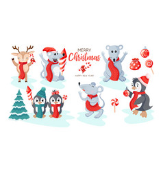 cute penguins mouses and items icon set isolated vector image