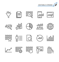 Data analytics line icons editable stroke vector