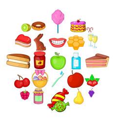 dessert icons set cartoon style vector image